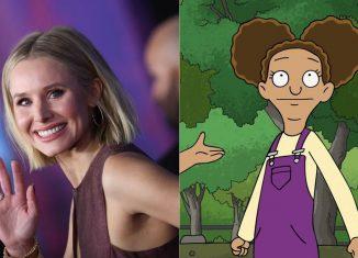 """Kristen Bell no tapete vermelho de """"Frozen 2"""", em 2019, e Molly, personagem que interpretava em 'Central Park' — Foto: Valerie Macon/AFP e Divulgação"""
